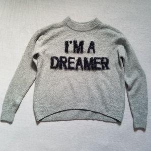 H&M sweater I'm a dreamer intrasia boxy gray XS